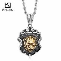KALEN New Lion Necklace For Men Stainless Steel Gold Color Animal Lion Pendant Necklace Rock Vintage