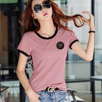 Shintimes Poleras Mujer Tshirt Femme 2019 Stripe Female T Shirt Women Cotton Slim T-Shirt Woman Summer Casual Camiseta Feminina