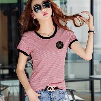 Shintimes Poleras Mujer Tshirt Femme 2020 Stripe Female T Shirt Women Cotton Slim T-Shirt Woman Summer Casual Camiseta Feminina
