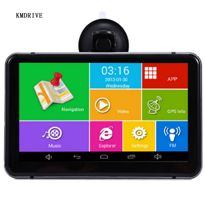 "7"" inch Android OS 8G 16GB Car GPS Navigation DVR Wifi AV-IN Bluetooth FM transmitter Bundle free latest maps(China)"