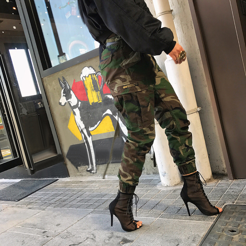 Unisex Camouflage Printed Pants Plus Size Autumn Army Cargo Pants Women/Men Trousers Military Elastic Waist Pants