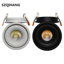 Dimmable 15W COB LED Spot Lamp Recessed Black shell and White down lights for living room 360 degree rotation Light