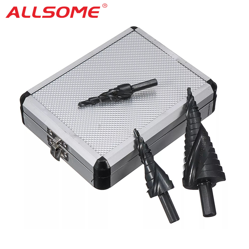 ALLSOME 3pcs 4-12/20/32mm HSS Step Drill Bit Set TiAlN Coated Spiral Grooved Hole Cutter HT1626-1628