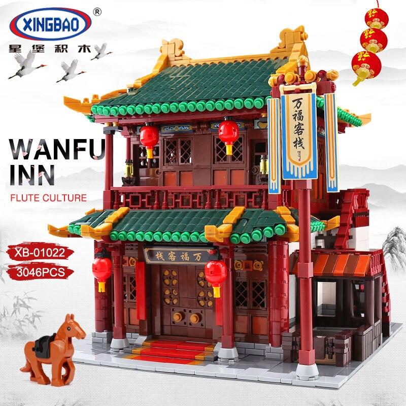 XINGBAO 01022 3046 Pcs Creatore della Serie Cinese Famosa Architettura Blocchi Il Wanfu Inn Set Blocchi di Costruzione MOC Mattoni Modello di Casa