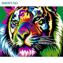 SDOYUNO Frameless 40x50cm Tiger Animal Painting By Numbers DIY For Unique Gift Paint Adults Wall Decor Art