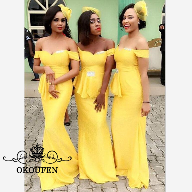 Yellow Off Shoulder Long Bridesmaid Dresses For Women 2019 Wholesale Price Mermaid Lace Up Back Maid Of Honor Dress Formal Gown