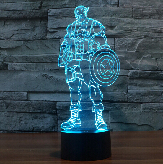 hot nieuwe 7 kleur veranderende 3d bulbing licht captain amerika burgeroorlog visuele illusie led lamp action