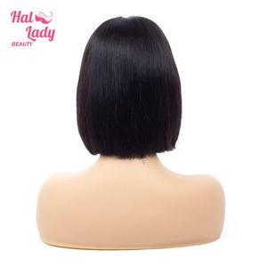 Image 2 - Halo Lady Beauty perruque de cheveux naturels brésilien avec frontal sur dentelle, coupe Bob, lisse, 13x4, partie centrale, 150% de densité, vente en gros