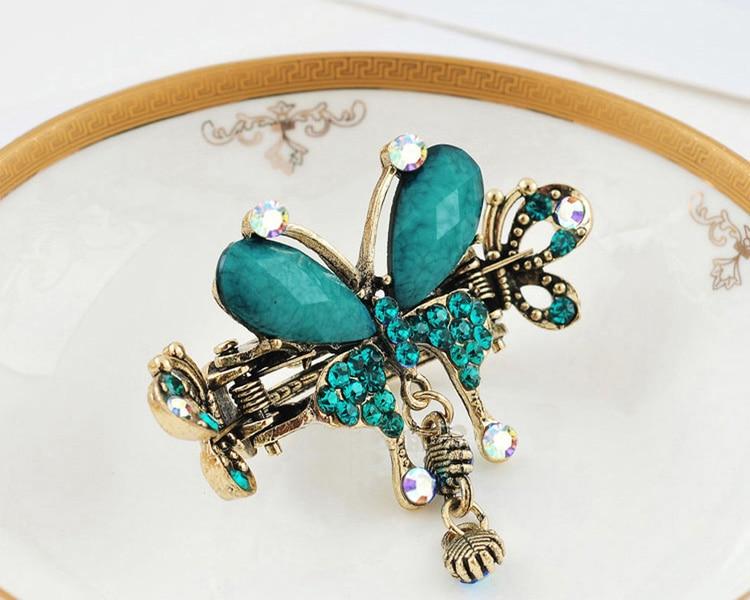 HTB1ngIUMXXXXXa6XVXXq6xXFXXXD Vintage Women Turquoise Butterfly Flower Hair Barrette With Rhinestone Crystals - 5 Colors