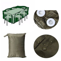 HOT GCZW 6 Seater Waterproof Furniture Set Cover Shelter Patio Garden Rectangular Table ArmyGreen
