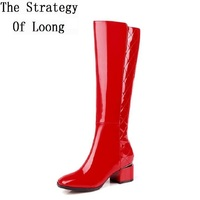 Women Winter Genuine Leather Long Boots 2016 New Arrival Lady Patent Leather Hoof Heel Zip Knee