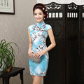 2016 New Fashion Qipao Dresses Chinese Traditional Dress Silk Satin print Flower Short Sleeve Cheongsams Chinese Evening Dresses