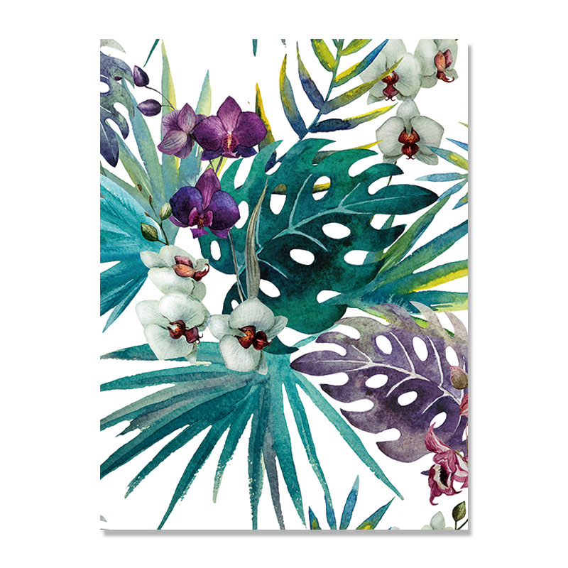 Tropical Leaves Bird Flower Flamingo Wall Art Nordic Poster Wall Pictures For Living Room Wall Art Canvas Painting Unframed in Painting Calligraphy from Home Garden