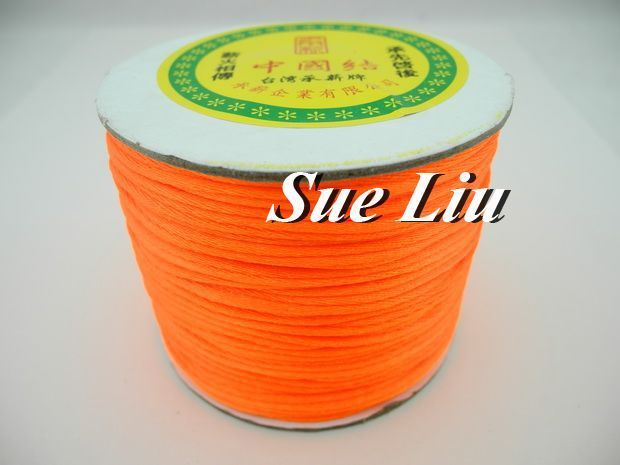 100yds 2mm Neon Tangerine Rattail Satin Cord Chinese Knot Beading Cord: Nylon NCN6S
