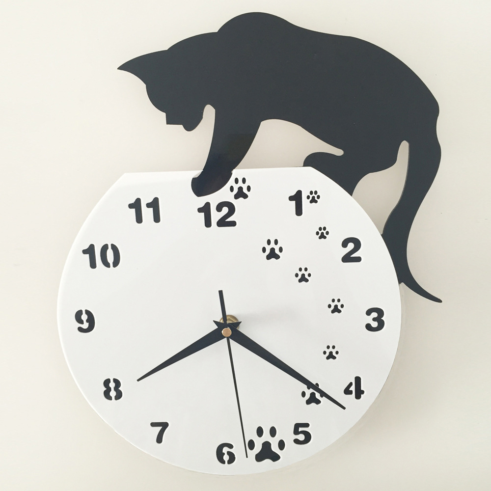 New black cat 3d home decor acrylic wall clock cat and fish design new black cat 3d home decor acrylic wall clock cat and fish design big watch quartz clock unique gift in wall clocks from home garden on aliexpress amipublicfo Gallery