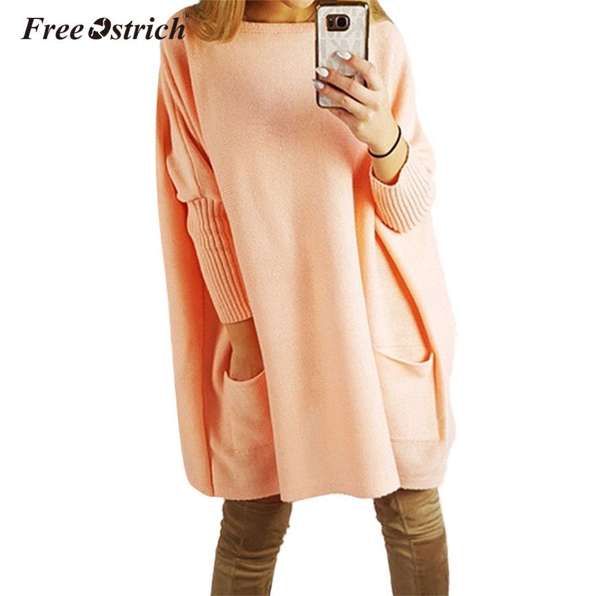 Free Ostrich Loose Knitted Dress Women Orange Batwing Sleeve Pockets Oversized Pullovers Autumn Spring Elegant Dresses D25 hot sale open front geometry pattern batwing winter loose cloak coat poncho cape for women