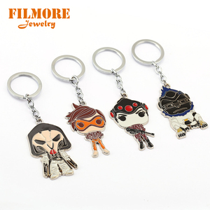 Hot Game Overwatch Winston Bleach 3D Figurine Keychain Ow Heroes Cosplay Widowmaker Reaper Winston Charm Pendant Key Chains(China)