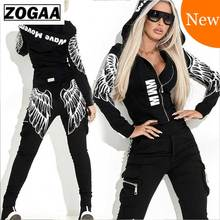 ZOGAA 2019 Tracksuit Wing Printed Two Piece Suit Women Set Basic Jacket Top Pencil Pant Hooded 2pcs Sportswear Female