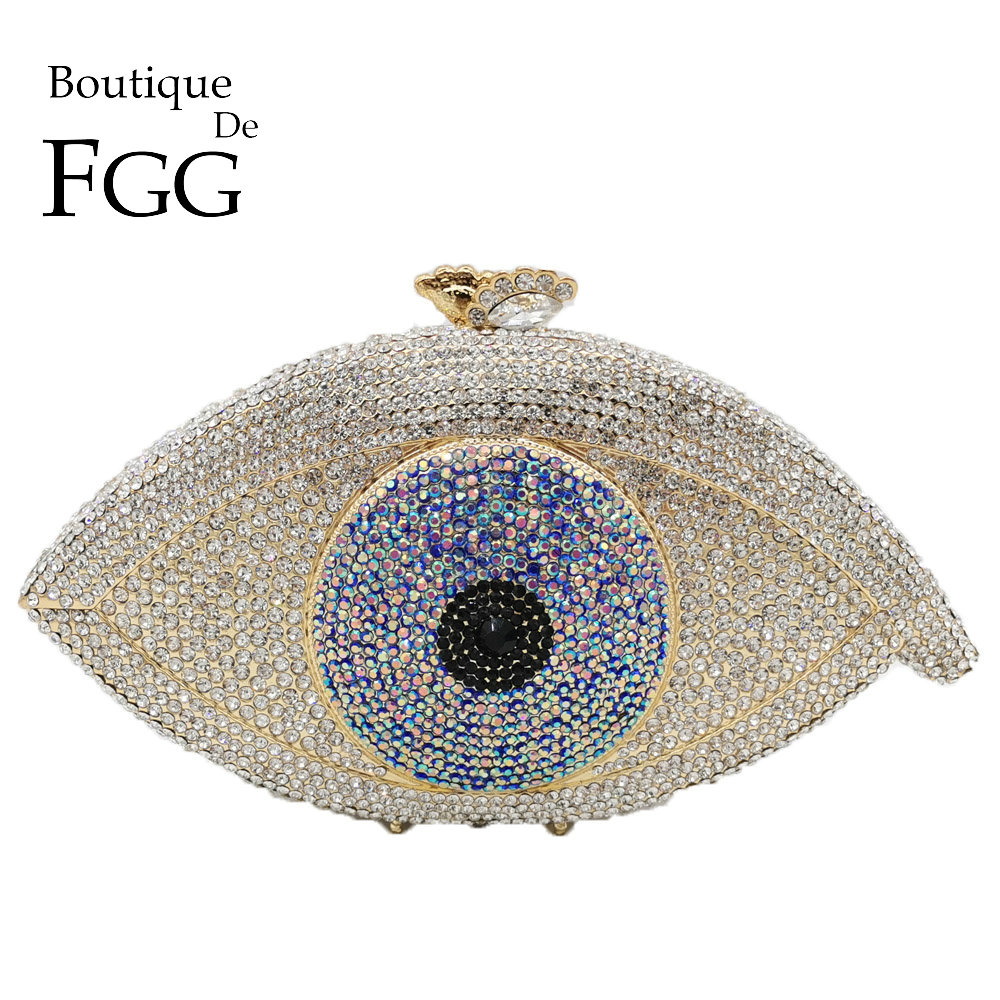 Boutique De FGG Vintage Evil Eyes Women Crystal Evening Bags Hard Case Wedding Clutch Minaudiere Bridal Handbags and Purses