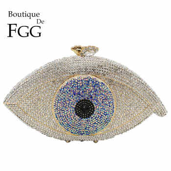 Boutique De FGG Vintage Evil Eyes Women Crystal Evening Bags Hard Case Wedding Clutch Minaudiere Bridal Handbags and Purses - DISCOUNT ITEM  50% OFF All Category