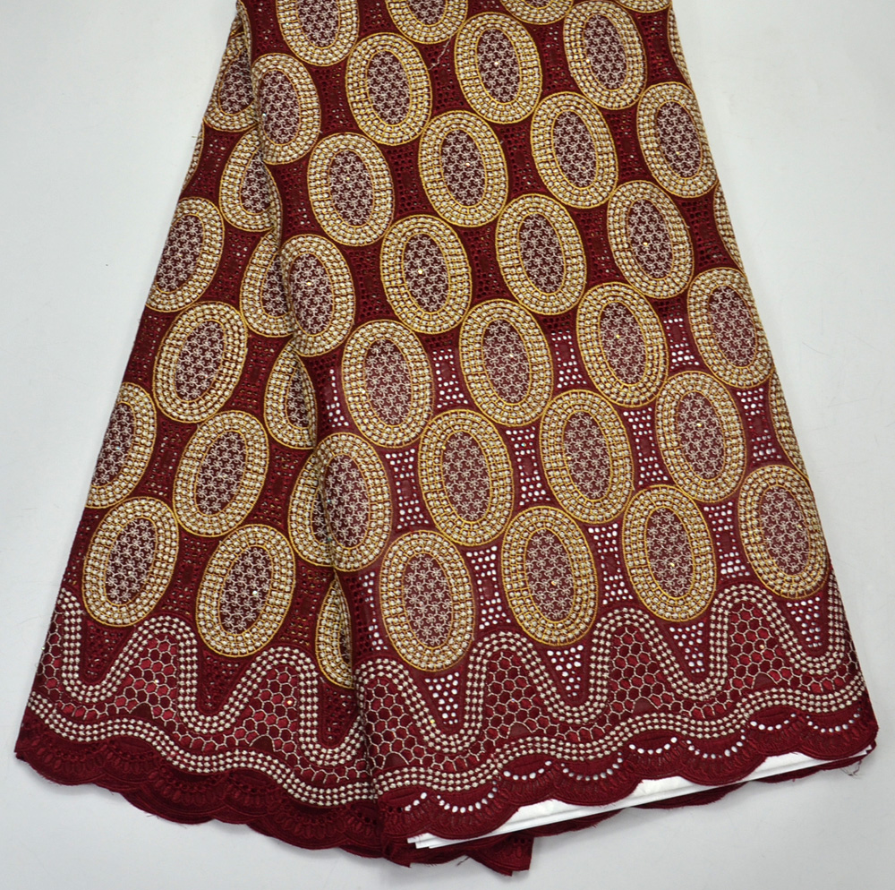 Latest 100% Nigeria Design High Quality Maroon Color African Swiss Voile lace for Men wedding lace fabrics 5 Yards