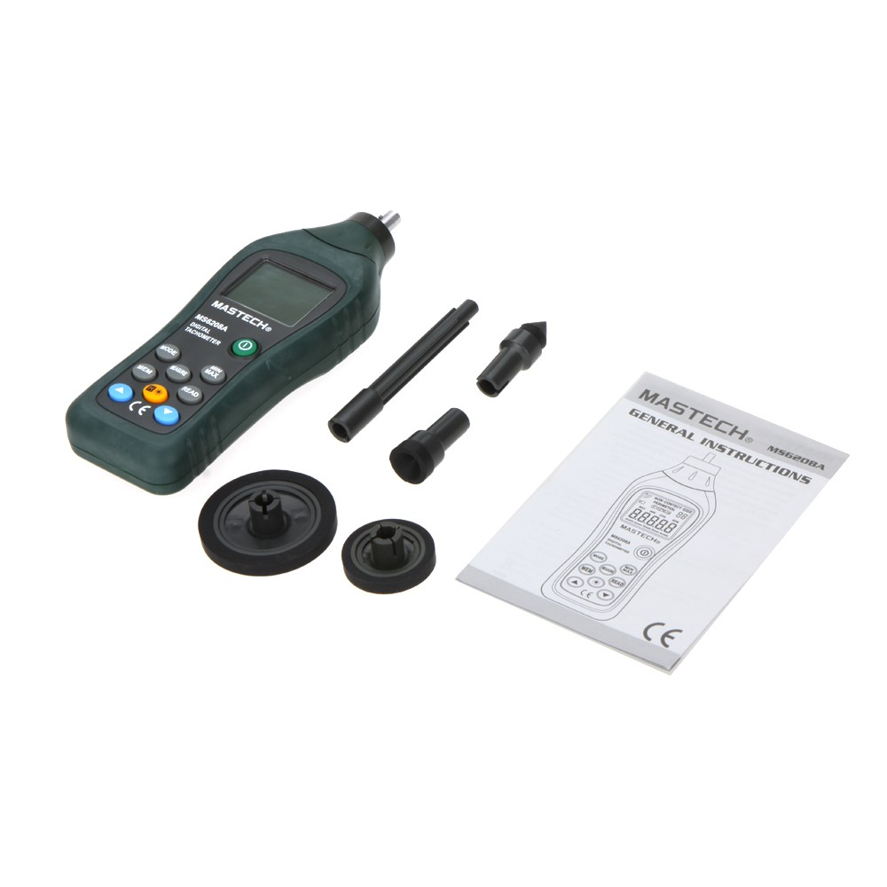 ФОТО MASTECH MS6208A Backlight and Rotation Speed of 50-19999RPM Contact-type Digital Tachometer