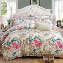 Classic bedding set 5 size grey blue flower bed linens 4pcs/set duvet cover set