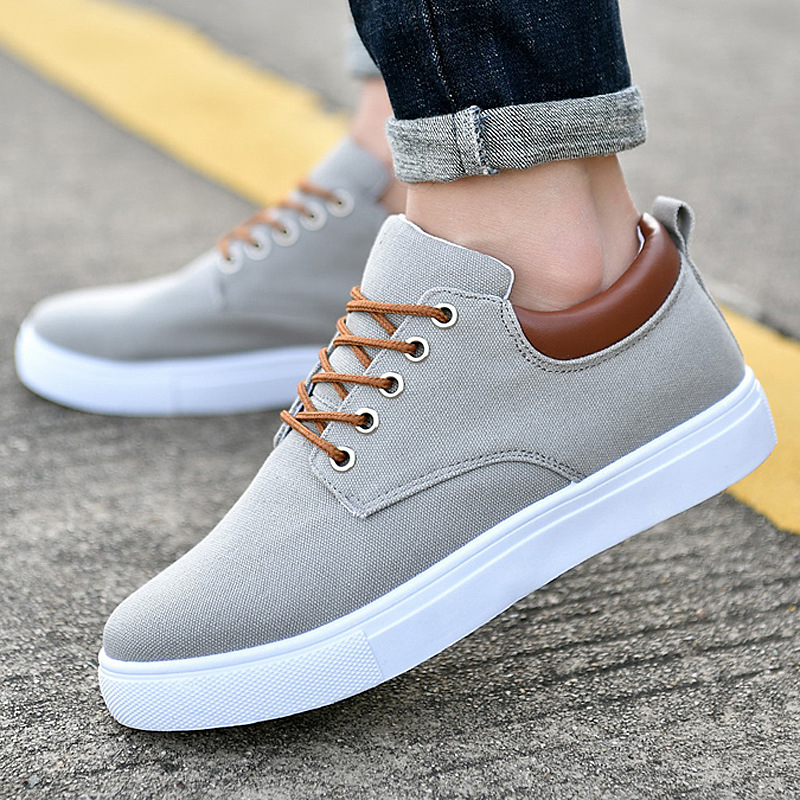 QIAOJINGREN Men Canvas Shoes Sneakers Lace Up Spring Summer Flat Comfortable Sneakers Students Skateboard Casual Shoes 39-47 skate shoe