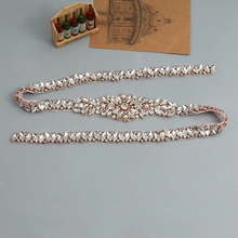Full Length Rhinestones Appliques Sewing On Wedding Dresses Belt Sashes Rose Gold Silver Crystal DIY Bridal Accessory