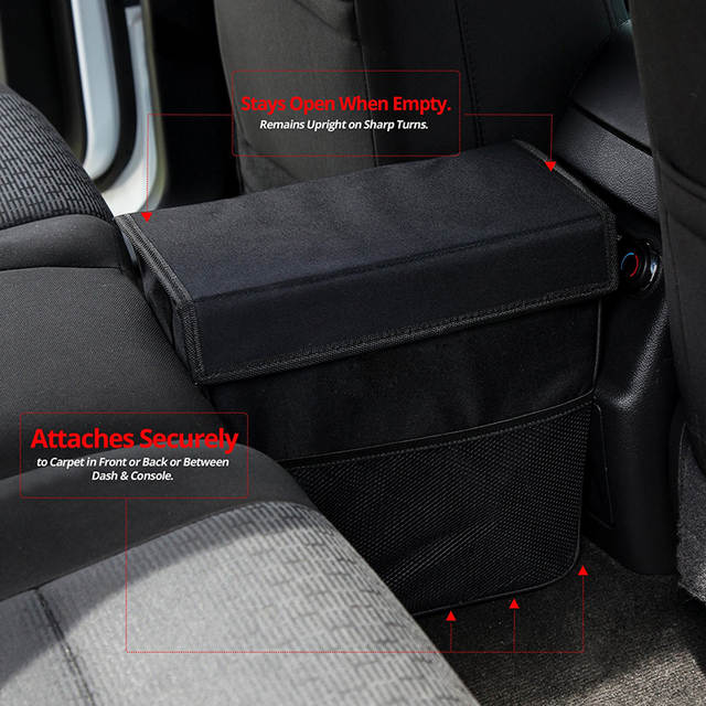New Car Garbage Can With Lid Large Black Leakproof Weighted Trash Keeps Vehicle