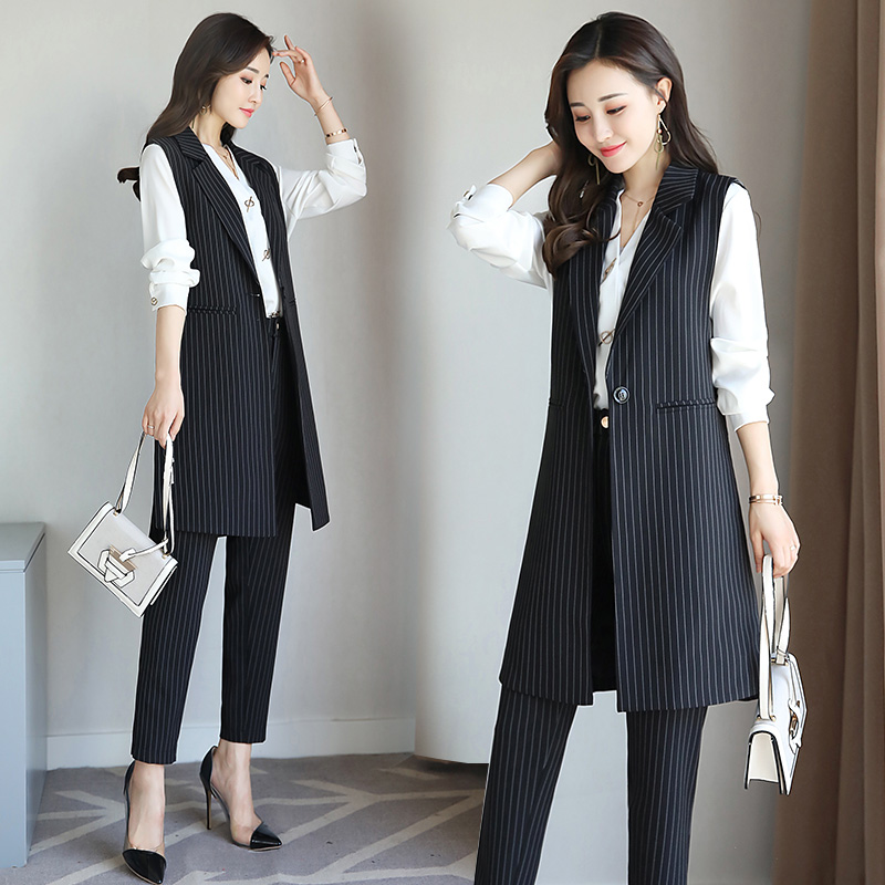 Women Striped Suit Waistcoat Set Professional Women's Spring And Autumn Two-piece Outfit Office Clothes
