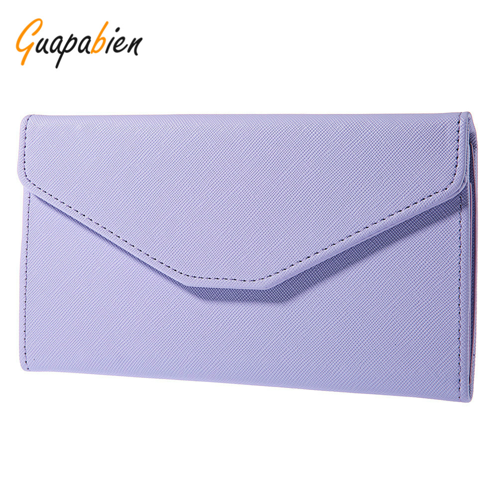 Guapabien Korean Candy Color Women Clutch Purse Hasp Design Handbag Letter Ladies Wallet For Female PU Leather Long Wallets casual weaving design card holder handbag hasp wallet for women