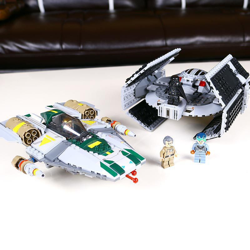 05030 LEPIN Star Wars Vader Tie Advanced VS A-wing Starfighter Model Toys Building Blocks Starwars Compatiable With 75150 lepin 05040 star wars y wing attack starfighter model building kits blocks brick toys compatiable with lego kid gift set
