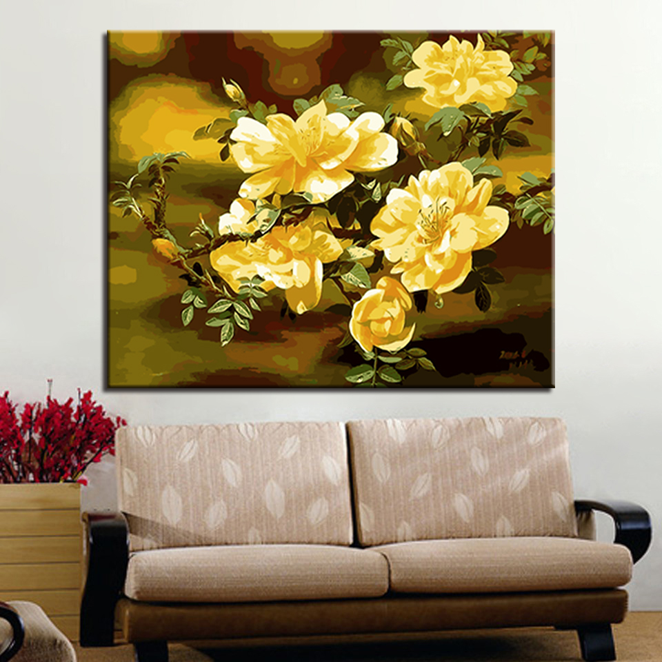 For Living Room Hand Unique Gifts Wall Artwork Yellow Flowers Oil ...