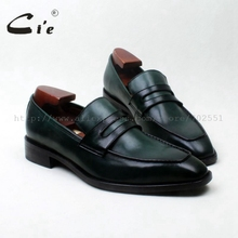 CIE квадратный носок на заказ кожаные мужские туфли; обувь без шнуровки на плоской кожи shoe100% из натуральной телячьей кожи; мужские слипоны green/комплект из туфель loafer125