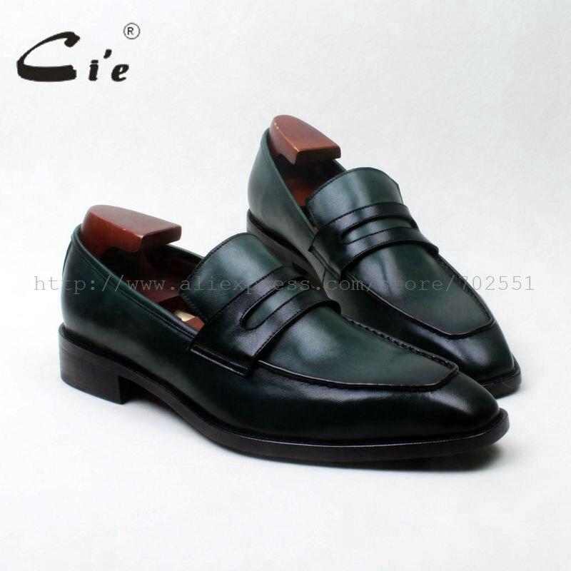 cie square toe bespoke leather men shoe handmade men leather shoe100% genuine calf leather men's slip on green shoe loafer125