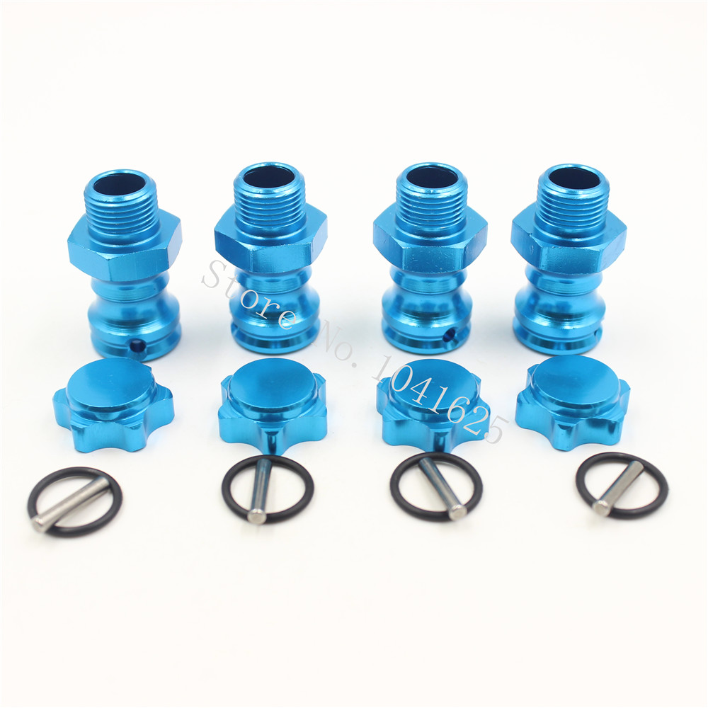 ФОТО 4pcs 17mm aluminum wheel hubs hex kit 23mm extension adapter with pins + o ring for 1/8 rc hobby car buggy monster truck