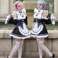 1set Hot Anime Re Zero Kara Hajimeru Isekai Seikatsu Ram Rem Cosplay Dress Fancy Dress Maid