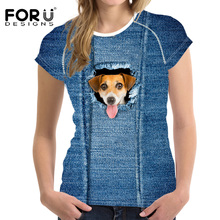 FORUDESIGNS Denim 3D Dog Cat T-Shirt Women Tees Cloth High Quality Vogue Causal Summer T Shirt For Female Clothes Crop Top 2017