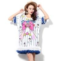 Harajuku Bow Dress 2017 New Women Summer Sequins Mesh Spliced Streetwear Sweet Striped Loose Clothing Short