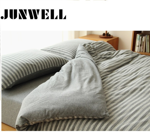 Junwell 100% Cotton Yarn dyed  Jersey Duvet Cover Japanese Style Stripe Design Quilt Cover 1PC And 3PCS Set