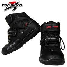Хорошее Качество Мотоциклетные спортивные ботинки для женщин и мужчин кожа черный цвет