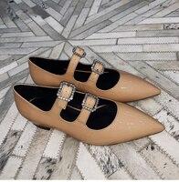 Женские туфли лодочки с острым носком на низком каблуке, блестящие женские туфли с украшением из кристаллов, дизайнерские туфли с пряжкой,