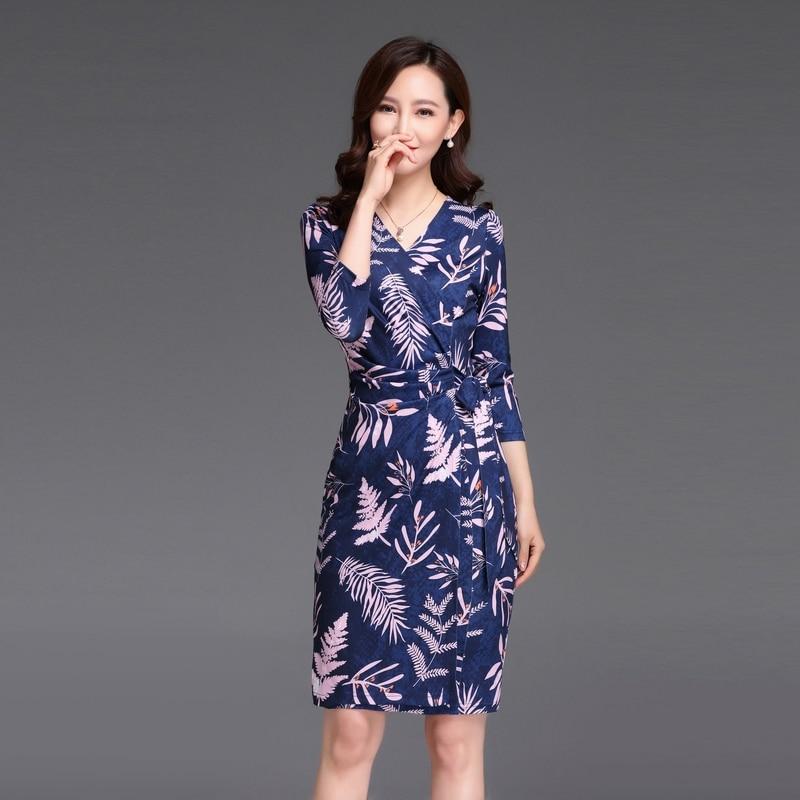 5110431875f 2019 Confortable Manches Trois cou Femmes Imprimer D été V Trimestre Blue  Mince Nouveau Élégant Robe ...