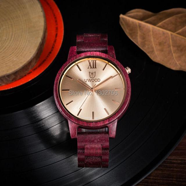 1ae6315f8877 Uwood Simplificar Los Hombres Purple Heart Sandal Wood Reloj de Moda Relojes  De Lujo Para Hombre