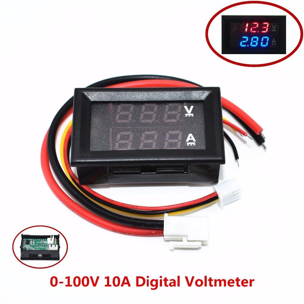 50pcs DC 0 100V 10A Digital Voltmeter Ammeter Dual Display Voltage Detector Current Meter Panel Amp