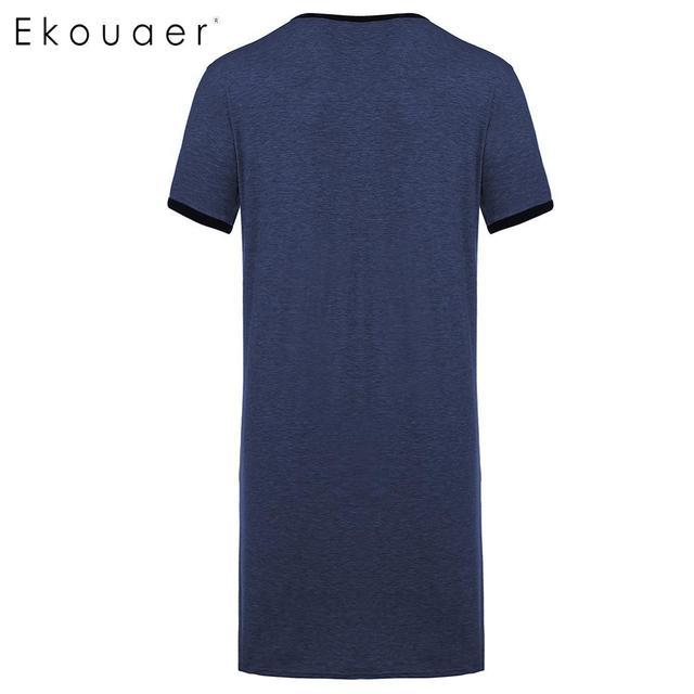 Ekouaer Men Nightshirt Casual Nightwear Comfortable Short Sleeve Night Shirts Big Tall Sleep Shirt Sleepwear Lounge Homewear