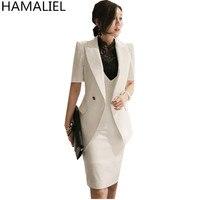 HAMALIEL Business Women 2 Piece Set Dress 2018 Summer Formal White Striped Balzers Coat + Vest Bodycon Pencil Office Skirt Set