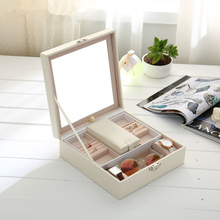Soild Europe Style Jewelry Storage Box PU Waterproof Makeup Box High  Quality Wooden Lock Jewellery Storage