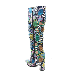 Image 5 - MORAZORA حجم كبير 36 41 الأوروبية النساء الأحذية ثعبان الجلود الاصطناعية عالية الكعب حذاء برقبة للركبة سستة السيدات الأحذية الإناث